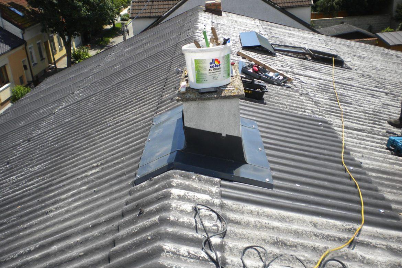 Kamineinfassung, Erneuerung in Aluminium Prefa_2 Nachher